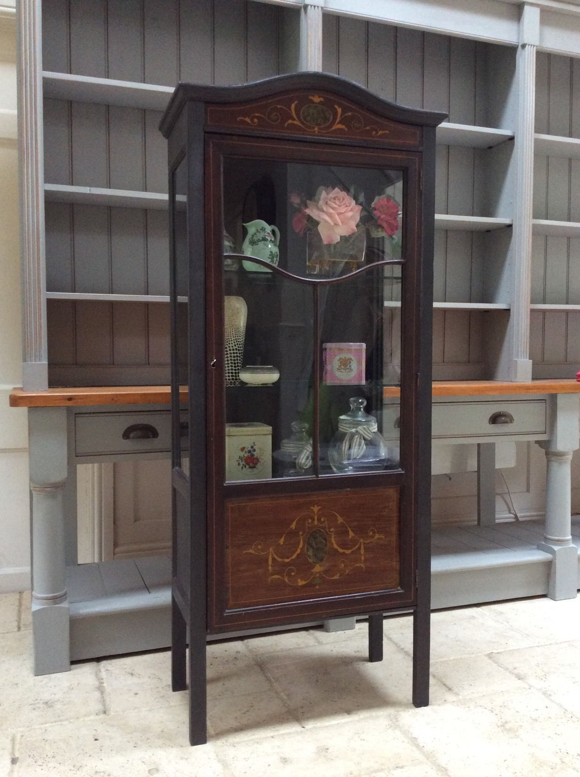 Antique Vintage Glazed Display Cabinet Bookcase Black Painted Glass  Marquetry - Vintage Glazed Display Cabinet Bookcase Black Painted Glass Marquetry